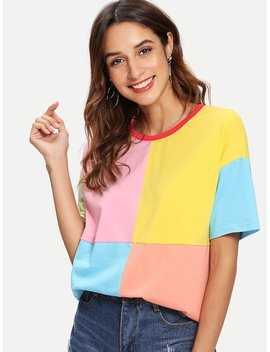 Cut And Sew Ringer Tee by Shein