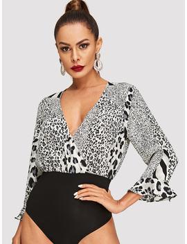 Leopard Print Bell Sleeve Bodysuit by Shein
