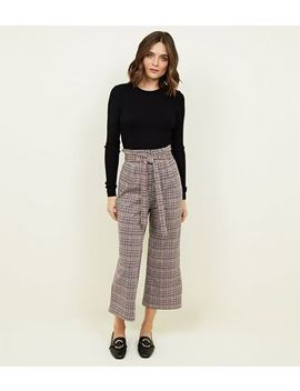 Innocence Light Brown Check Tie Waist Trousers by New Look