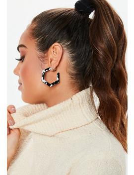 Black Hexagon Hoop Earrings by Missguided
