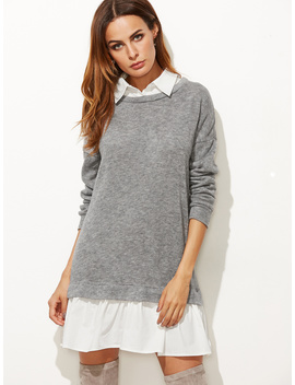 Heather Grey Contrast Collar And Hem 2 In 1 Sweatshirt Dress by Romwe