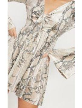 Beige Velvet Snake Print Tie Front Skater Dress by Prettylittlething