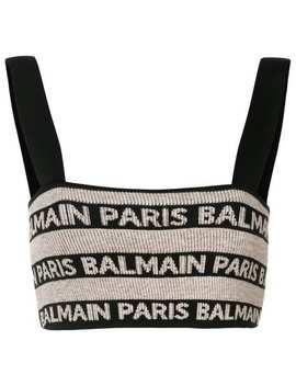 Cropped Logo Tank Top by Balmain