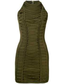 Lace Up Detail Mini Dress by Balmain
