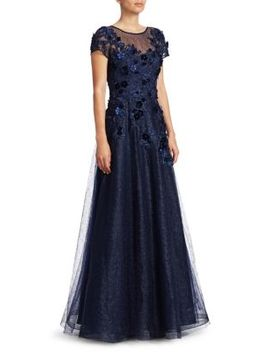 Cap Sleeve Appliqué Tulle A Line Gown by Teri Jon By Rickie Freeman