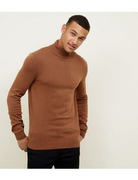 Camel Ribbed Roll Neck Jumper by New Look