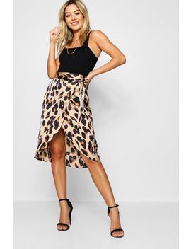 Petite Leopard Print Satin Wrap Midi Skirt by Boohoo