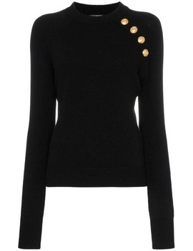 Buttoned Knitted Wool Cashmere Blend Jumper by Balmain