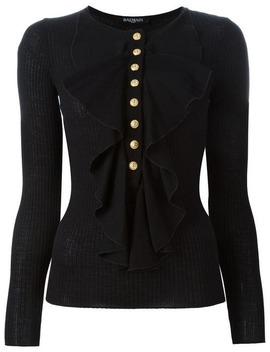 Ribbed Ruffle Neck Top by Balmain