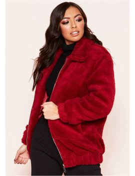 Rene Red Teddy Zip Up Jacket by Missy Empire