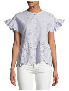 Cerelia Eyelet Cotton Blouse by Joie