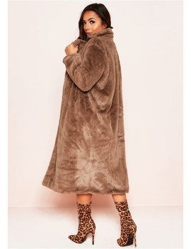 Una Taupe Faux Fur Longline Coat by Missy Empire