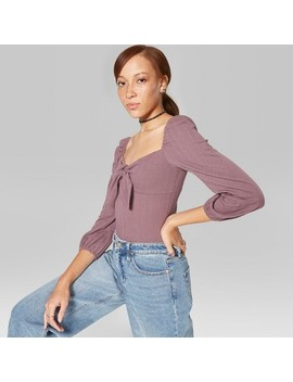 Women's Puff Long Sleeve V Neck Front Knot Top   Wild Fable™ by Wild Fable