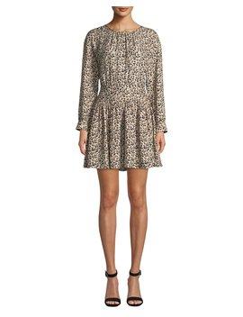 Long Sleeve Silk Leopard Print Short Dress by Rebecca Taylor