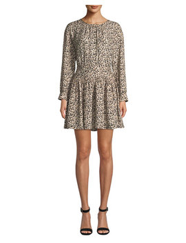 Long Sleeve Silk Leopard Print Short Dress by Rebecca Taylor