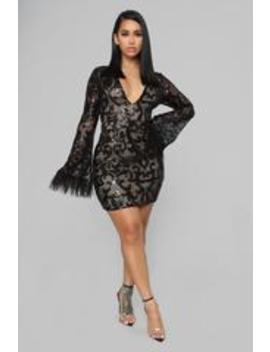Feather Me Up Sequin Mini Dress   Black by Fashion Nova