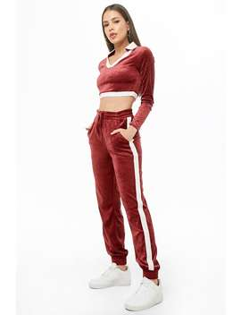 Velvet Crop Top & Pants Set by Forever 21