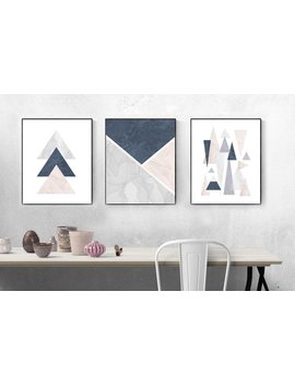 Geometric Blush, Blue, Grey, Wall Print, Triangles, Mountains, Blush Pink, Marble, Wall Decor, Art, Posters, Set Of Three, Abstract by Etsy