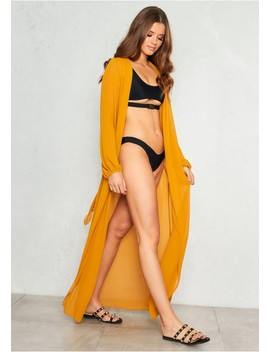 Carly Mustard Maxi Belted Kimono by Missy Empire