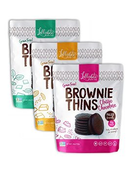 Lillabee Brownie Thins Variety Pack, Paleo Friendly, Grain Free, High Protein, Ready To Eat, Crunchy Cookie Snack, Gluten, Dairy And Soy Free 4oz Bag (Variety, 3 Pack) by Lillabee
