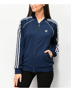 Adidas 3 Stripe Collegiate Navy Track Jacket by Adidas