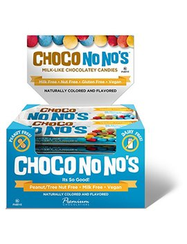 Chocolate Choco No Nos (16 Pack) Naturally Colored, Vegan, Milk Free, Nut Free Chocolate Candy by No Whey Chocolate