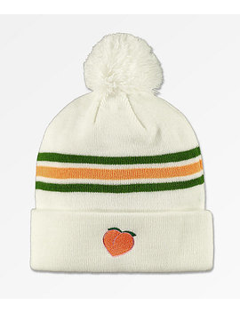 The Forecast Agency Peach Striped Pom Beanie by The Forecast Agency
