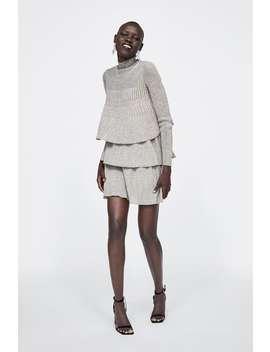 Vestido Com Folhos Com Fio Metalizado  Ver Tudo Vestidos Mulher by Zara