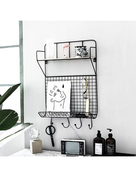 Nordic Style Iron Simple Grid Home Living Room Kitchen Wall Storage Rack Book Cup Wall Decorative Wall Hanging Wall Decoration by Waasoscon