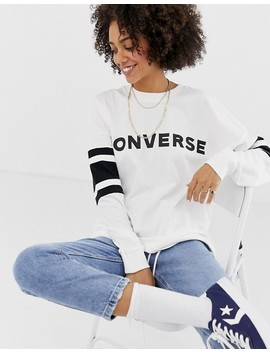 Converse Oversized Soccer Long Sleeve Top In White by Converse