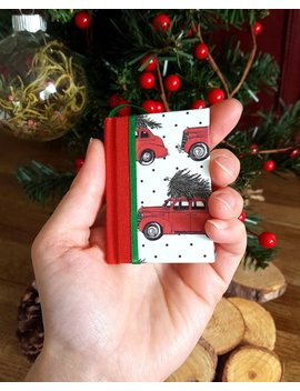 Vintage Car Book Ornament, Book Club Ornament, Rustic Ornament, Mini Book Ornament, Book Lover, Gift For Writers, First Christmas by Etsy