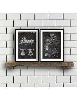 Harley Davidson Patent Posters Group Of 2 Harley Davidson Prints Vintage Motorcycle Motorcycle Parts Motorcycle Harley Patent Sp288 by Etsy