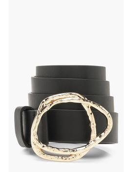Hammered Abstract Buckle Belt by Boohoo
