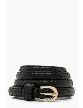 Faux Python Skinny Belt by Boohoo