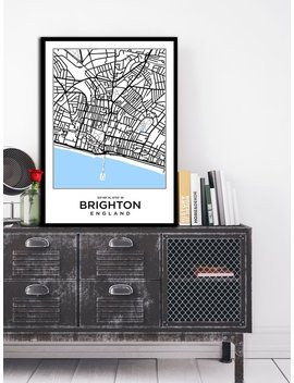 Brighton City Map Print England Map Modern Minimalist Art Design Home Office Decor Map Print Map Poster Map Brighton Map Print Travel Map76 by Etsy
