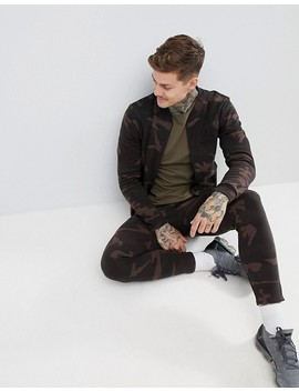 Sik Silk Zip Jersey Bomber Jacket In Camo by Sik Silk
