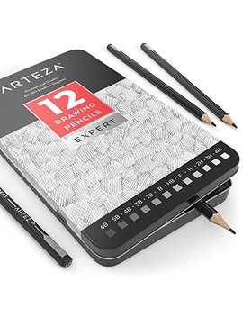 Arteza Professional Drawing Sketch Pencils Set Of 12, Medium (6 B   4 H), Ideal For Drawing Art, Sketching, Shading, Artist Pencils For Beginners & Pro Artists by Arteza