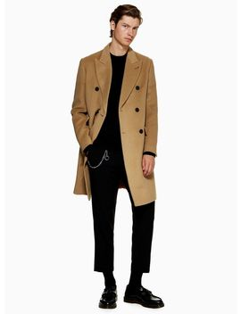 Camel Wool Blend Double Breasted Overcoat by Topman