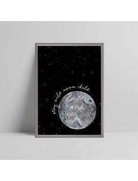 Black Or Pink Stay Wild Moon Child Print Quote, Full Moon, Stars, Sky, Nursery, Play Room, Scandi, Scandinavian Nursery, Girls Boys Bedroom by Etsy