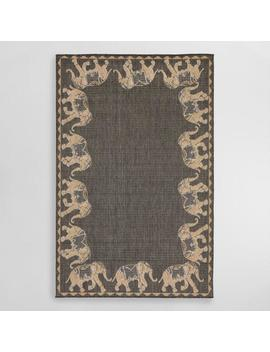 Gray Marching Elephants Indoor Outdoor Area Rug by World Market