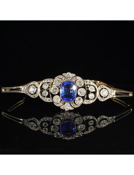 Antique Pre Revolutionary Russian 3ct Sapphire And Diamond Bracelet In 14k Gold And Platinum by Etsy