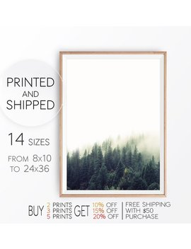 Nature Forest Print, Modern Wall Decor, Scandinavian Print, Nature Wall Art, Foggy Landscape, Forest Fog, Evergreen Pine Trees, 11x14 Poster by Etsy