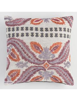 Floral Embroidered Jali Throw Pillow by World Market