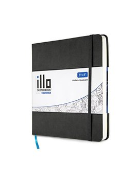 Illo Sketchbook, Large, Square, Sketch Book, Premium, 180 Gsm Paper, (8x8), Hardcover Notebook, Lay Flat, Smooth Paper, Thick Paper, Elastic Enclosure And Ribbon Marker, Mixed Media by Illo