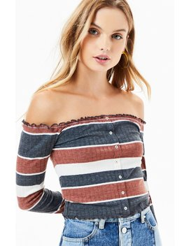 Me To We Lettuce Edge Button Down Off The Shoulder Top by Pacsun