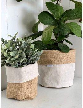Oatmeal Linen Hessian Pot Plant Bag by Etsy
