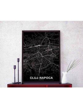 Cluj Napoca Romania Map Poster Black White Wall Decor Design Modern Minimal Nordic Housewarming Travel Bedroom Art Print by Etsy