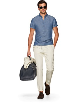 Blue Short Sleeve Popover by Suitsupply