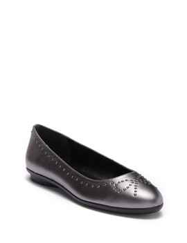 Markie Bow Studded Metallic Leather Ballet Flat by Donald Pliner