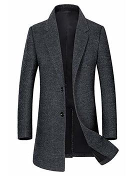 Men's Classic Single Breasted Wool Walker Coat Stylish Jacket 101219 by Eletop
